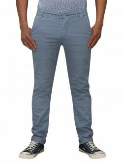 Men's Slim Fit Stretchable Semi Formal Twill Jeans Pant - Light Blue - (RS-0010)