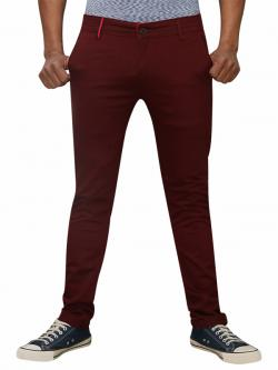 Men's Slim Fit Stretchable Semi Formal Twill Jeans Pant - Dark Maroon - (RS-0011)