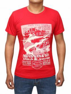 Billfish Series Printed Red T-shirt For Men (RS-21)