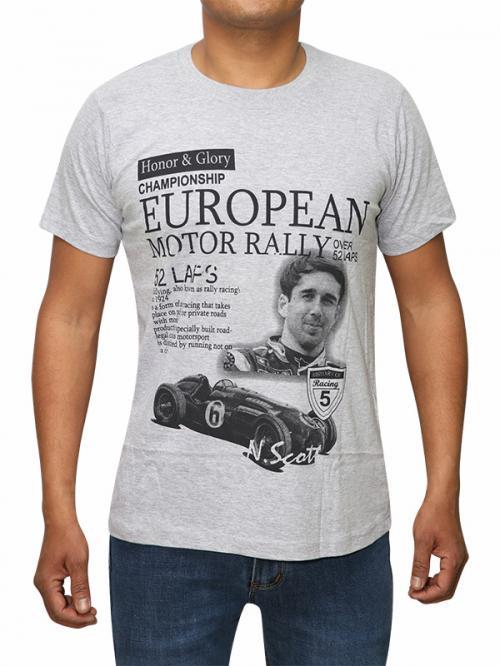 Motor Rally Printed AshGrey T-shirt (RS-22)
