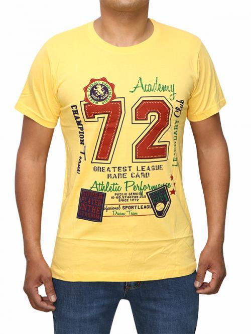 Baseball Themed Yellow T-shirt For Men (RS-23)