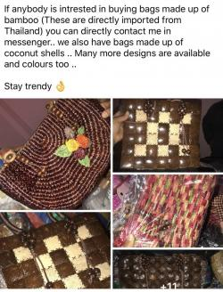 Bags made from bamboo and coconut shell imported from Thailand!