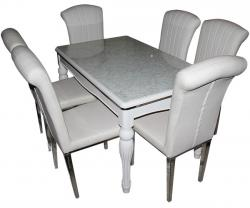 6 Seater Dining Table - White Color - (SD-094)
