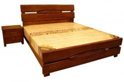 Dark Brown Solid Wooden Bed - (SD-090)