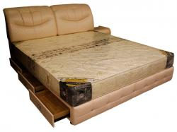Light Cream Colored Regjin Bed With Drawer - (SD-089)
