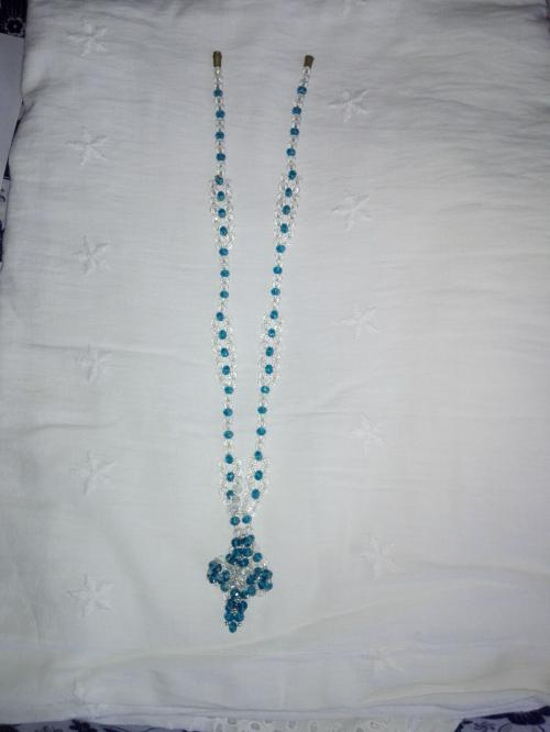 Blue and white crystal necklace