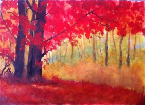 Red leaf tree(painting)