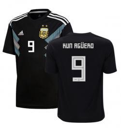 Argentina 9 Kun Aguero Away Jersey 2018 (Printed) - (KSH-076)