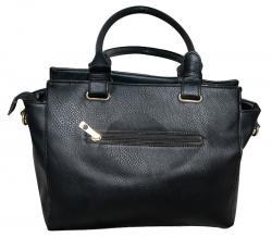 Dark Black Stitched Check Design Hand Bag/Shoulder Bag For Ladies- (RASH-0006)