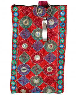 Embroidered Mobile Purse With Keyring For Ladies (RASH-0018)