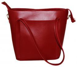 Dark Brown Synthetic Hand Bag/Shoulder Bag For Ladies (RASH-0023)