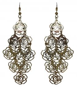 Golden Rose Flower Design Earring (RASH-0055)