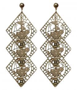 Three Layer Rhombus Design Golden Earring (RASH-0055)