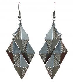 Rhombus Design Silver Earring - Long Drop Silver Earring (RASH-0056)