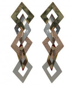 Five Layer Rhombus Design Gold Earring (RASH-0057)