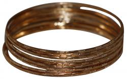 Golden Colour Metallic Bangle Set - 12 Pieces (RASH-0067)