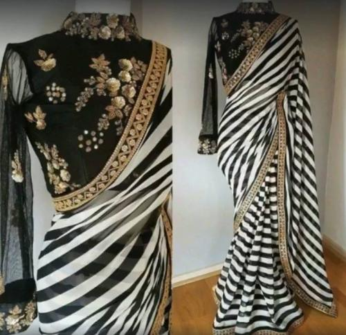 Black and White Stripe Designer Saree with Blouse