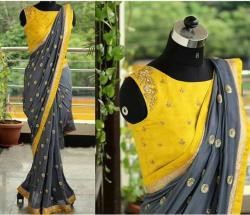Grey Yellow Designer Georgette Saree with Blouse