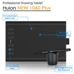 Huion 1060 Pro Updated Version Graphics Tablet 8192 Levels Professional 8GB USB Digital Drawing Tablets Animation with 5 Gifts