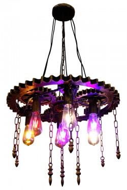 Large Antique Wheel Hanging Lamp - Vintage Light