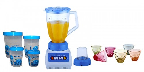 SUPER COMBO: Mixer/Grinder/Juicer + 4 Pcs Set Storage Container + 6 Pcs Colorful Glass
