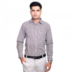 100% Cotton Mini Checked Pattern Long Sleeve Shirt