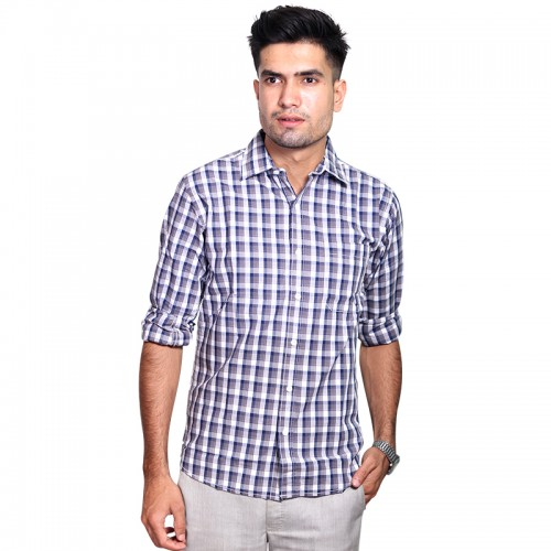100% Cotton Large Checked Pattern Long Sleeve Shirt