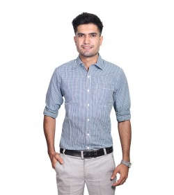 100% Cotton Blue Gingham Pattern Long Sleeve Shirt