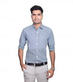 100% Cotton Blue Gingham Pattern Long Sleeve Shirt