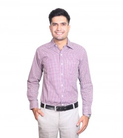 100% Cotton Pink Gingham Pattern Long Sleeve Shirt