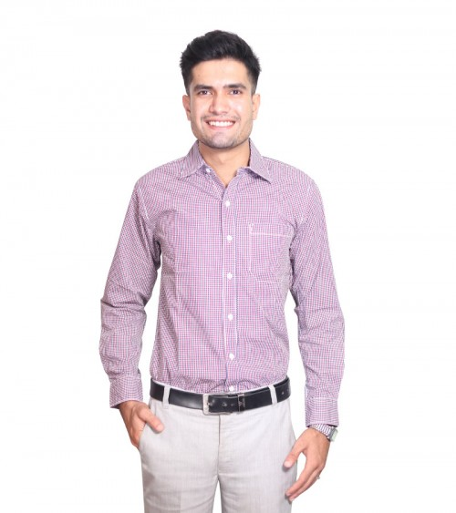 100% Cotton Pink Gingham Pattern Long Sleeve Shirt