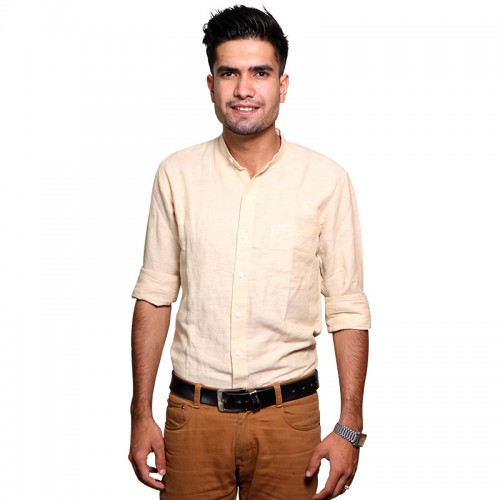 100% Cotton Plain Mandarin Collar Long Sleeve Shirt - Ivory White