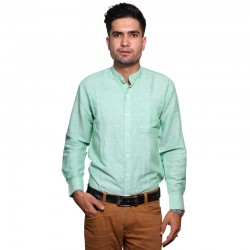 100% Cotton Plain Mandarin Collar Long Sleeve Shirt - Light Turquoise