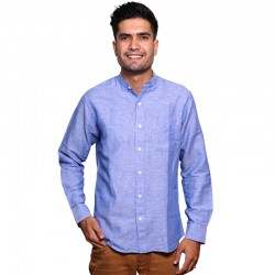 100% Cotton Plain Mandarin Collar Long Sleeve Shirt - Periwrinkle Blue
