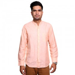 100% Cotton Plain Mandarin Collar Long Sleeve Shirt - Peach