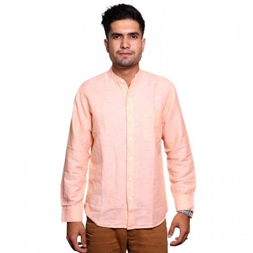 100% Cotton Plain Mandarin Collar Long Sleeve Shirt - Peach