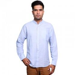 100% Cotton Plain Mandarin Collar Long Sleeve Shirt - Sky Blue