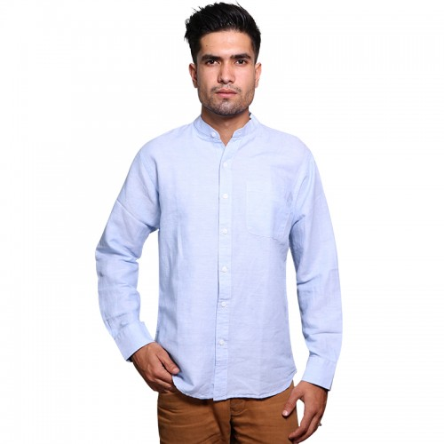 100% Cotton Plain Mandarin Collar Long Sleeve Shirt - Sky Blue