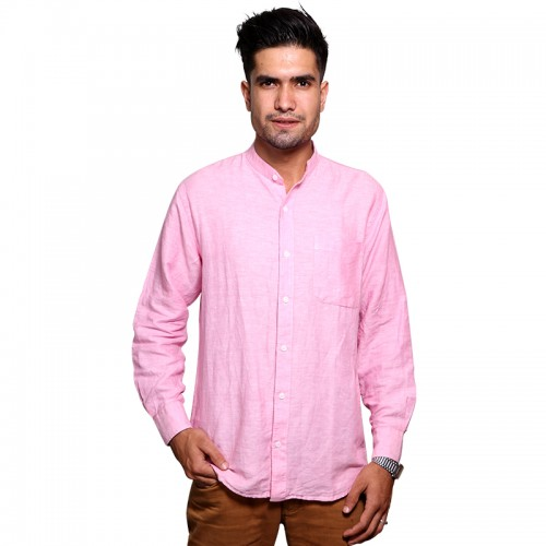 100% Cotton Plain Mandarin Collar Long Sleeve Shirt - Pink