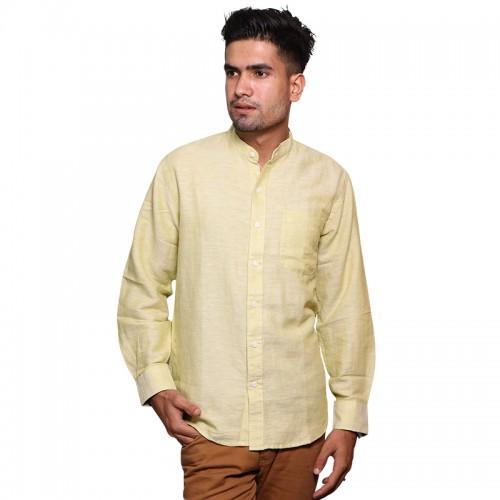 100% Cotton Plain Mandarin Collar Long Sleeve Shirt - Canary Yellow