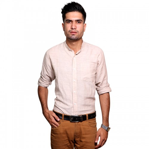 100% Cotton Plain Mandarin Collar Long Sleeve Shirt