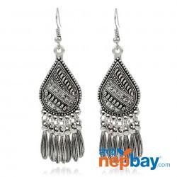 Silver Toned Boho Metallic Tassel Danglers