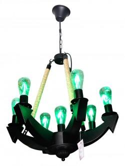 Elegant Green Glass Chandelier - Vintage Light