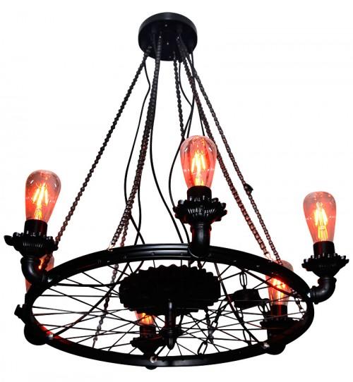 Rustic Wheel 6 Piece Vintage Lamp