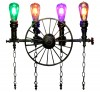 Rustic Wheel 4 Water Pipe Lamp - Vintage Lights