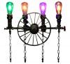 Rustic Wheel 4 Water Pipe Lamp - Vintage Lights