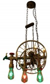 Rustic Wheel 2 Water Pipe Lamp - Vintage Light