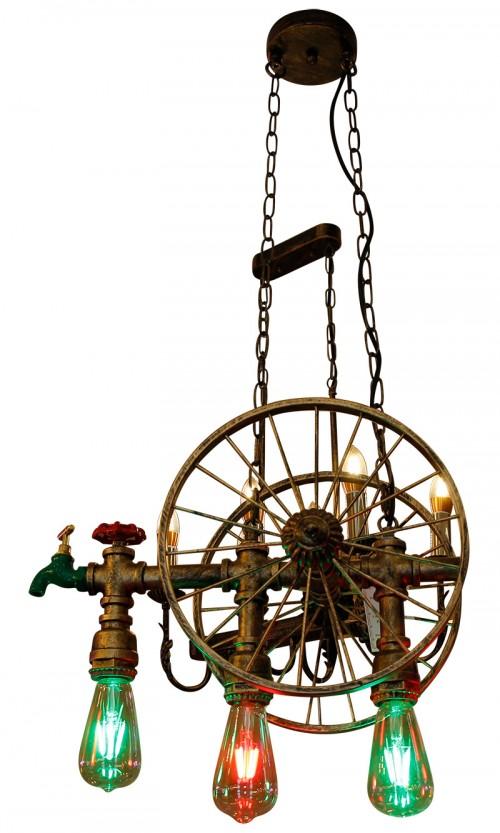 Rustic Wheel 2 Water Pipe Lamp - Vintage Light