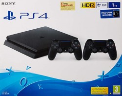 PS4 Slim 1TB with dual controller+Official Gaming Heaphone+Mortal Combat XL