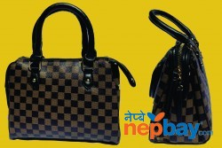 Black Brown Checked Handbag